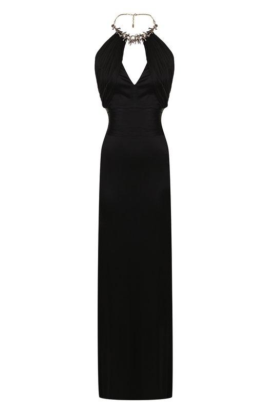 Купить Однотонное платье-макси с декоративной отделкой и открытой спиной Roberto Cavalli, GQT122/JJ036, Италия, Черный, Вискоза: 100%; Подкладка-вискоза: 100%;