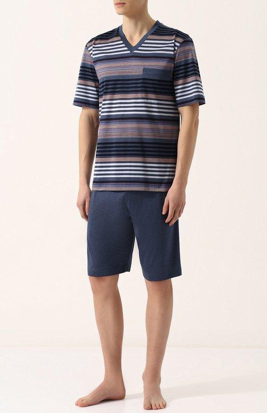 Купить Хлопковая пижама с шортами и футболкой в полоску Zimmerli, 3169-95412, Болгария, Синий, Хлопок: 100%;