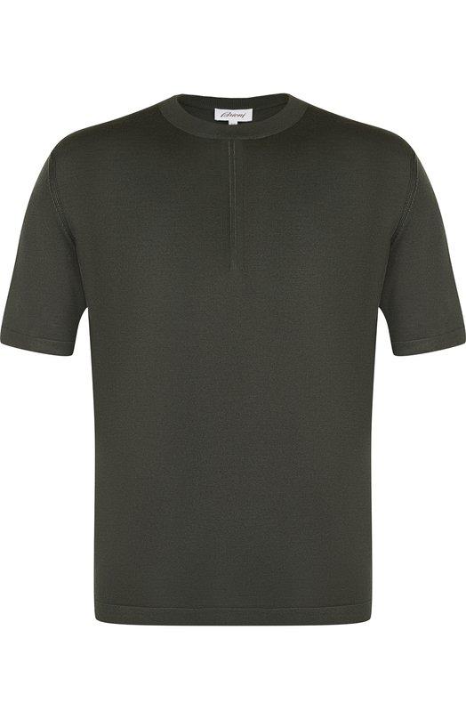 Купить Шелковая футболка с круглым вырезом Brioni, UMR00L/P7K01, Италия, Хаки, Шелк: 100%;
