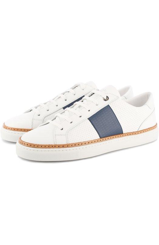 Купить Кожаные кеды на шнуровке Canali, 791212/RA00250, Италия, Белый, Кожа натуральная: 100%; Стелька-кожа: 100%; Подошва-резина: 100%;