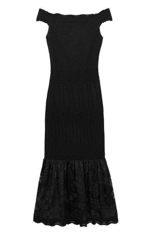 Купить Платье-миди с открытыми плечами и кружевной оборкой Roberto Cavalli, GQM755/MH001, Италия, Черный, Вискоза: 84%; Шелк: 34%; Полиэстер: 16%;