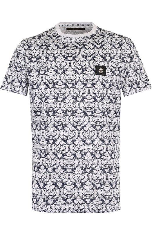 Купить Хлопковая футболка с принтом Billionaire, B18C MTK_1668 BTE014N, Италия, Синий, Хлопок: 100%;
