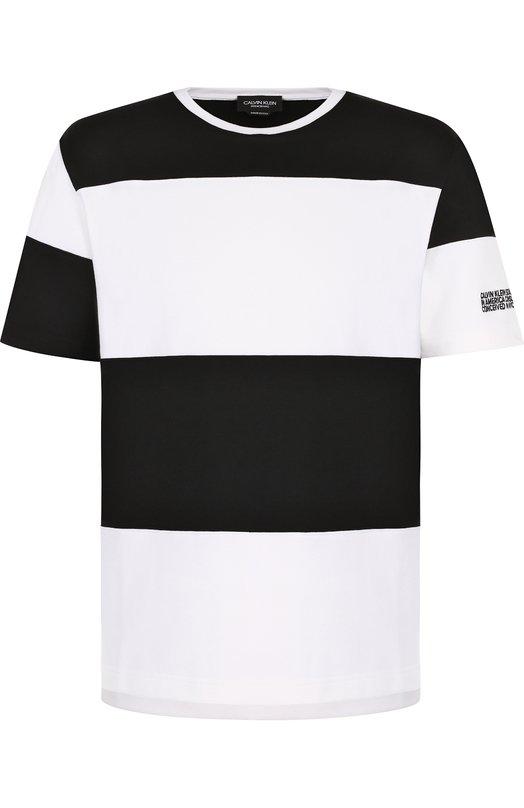 Купить Хлопковая футболка в контрастную полоску CALVIN KLEIN 205W39NYC, 81MWTA69/C181A, Италия, Черно-белый, Хлопок: 100%;