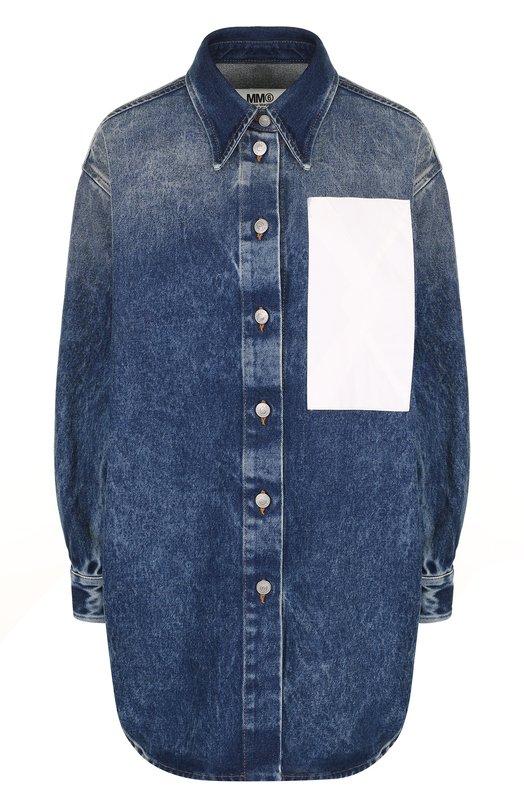 Джинсовая блуза свободного кроя с потертостями Mm6