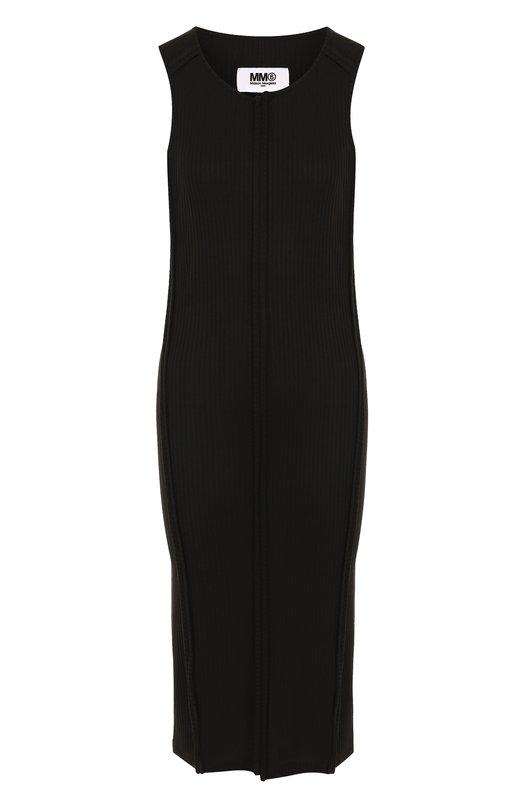 Приталенное платье-миди без рукавов Mm6, S52CT0298/S23074, Италия, Черный, Вискоза: 95%; Эластан: 5%;  - купить
