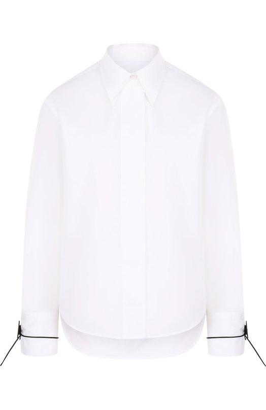 Купить Однотонная хлопковая блуза свободного кроя Mm6, S52DL0061/S47294, Италия, Белый, Хлопок: 100%;