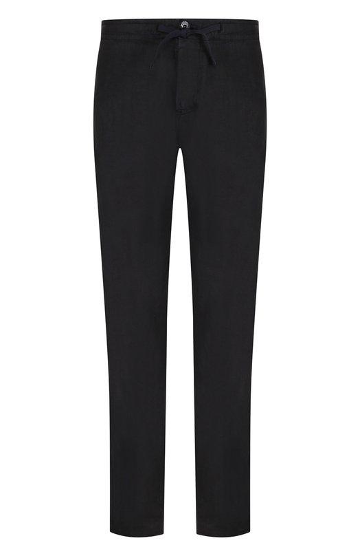 Купить Льняные брюки прямого кроя с поясом на кулиске Stone Island, 681530901, Италия, Темно-синий, Лен: 100%;