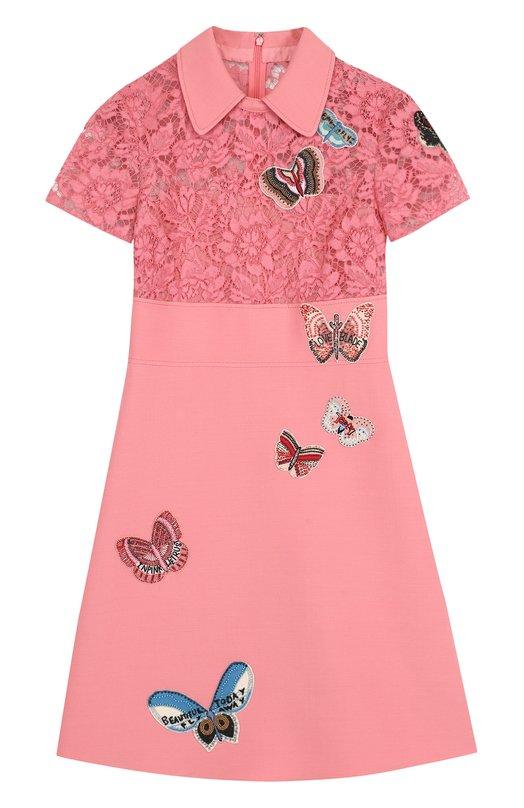 Купить Приталенное мини-платье с кружевным лифом и отделкой в виде бабочек Valentino, PB3VAG64/360, Италия, Розовый, Хлопок: 71%; Шерсть овечья: 65%; Шелк: 35%; Полиамид: 28%; Вискоза: 21%;