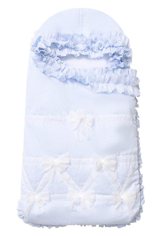 Купить Однотонный конверт с оборками и бантами Aletta, R88424, Италия, Голубой, Полиэстер: 100%; Подкладка-хлопок: 100%;
