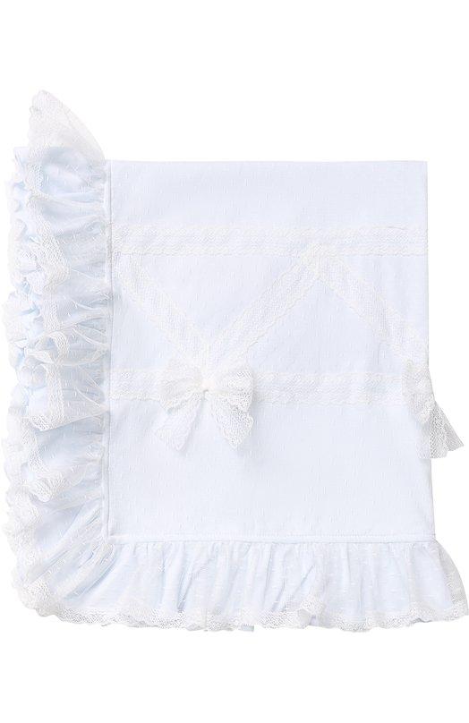 Купить Однотонное одеяло с бантами и кружевной отделкой Aletta, RB88367, Италия, Голубой, Полиамид: 100%; Подкладка-хлопок: 100%;