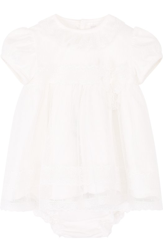 Купить Хлопковый комплект из платья и трусов Aletta, RB88377/1M-18M, Италия, Кремовый, Хлопок: 100%; Полиамид: 100%;