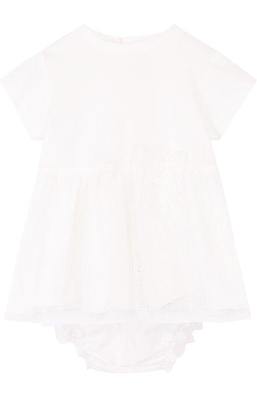 Купить Хлопковый комплект из платья и трусов Aletta, RB88383/1M-18M, Италия, Кремовый, Хлопок: 100%; Отделка-полиамид: 100%;