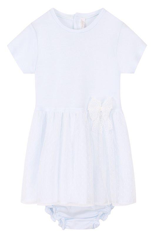 Купить Хлопковый комплект из платья и трусов Aletta, RB88383/24M, Италия, Голубой, Хлопок: 100%; Отделка-полиамид: 100%;