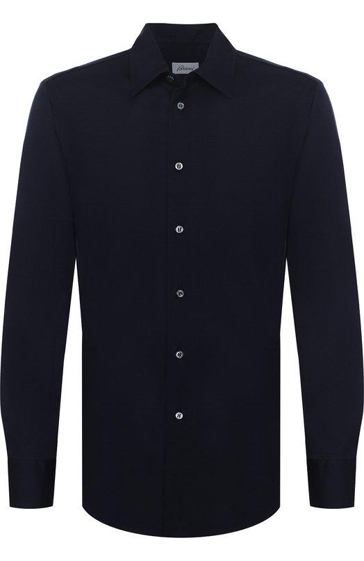 Купить Хлопковая рубашка с воротником кент Brioni, UJ5Z13/PZ600, Италия, Темно-синий, Хлопок: 100%;