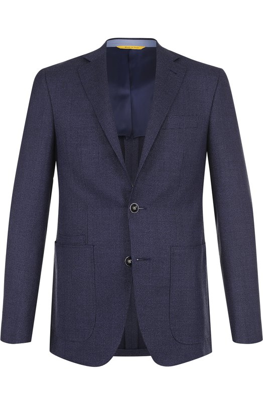 Купить Однобортный шерстяной пиджак Canali, 25273/CU01369, Италия, Темно-синий, Шерсть: 100%;