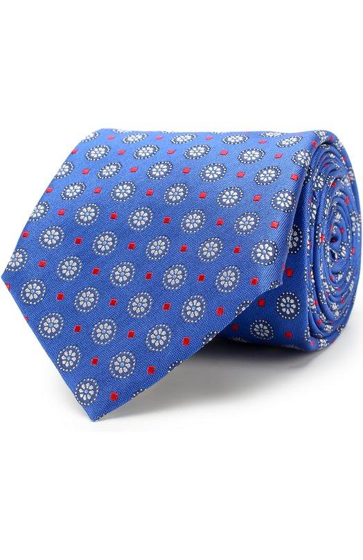 Купить Шелковый галстук с узором Canali, 18/HJ01576, Италия, Синий, Шелк: 100%;