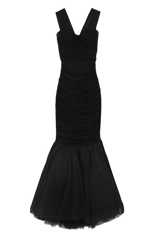 Купить Приталенное платье-макси с драпировкой Dolce & Gabbana, F68M0T/FL1AM, Италия, Черный, Подкладка-полиамид: 50%; Подкладка-хлопок: 34%; Подкладка-эластан: 16%; Шелк: 100%;
