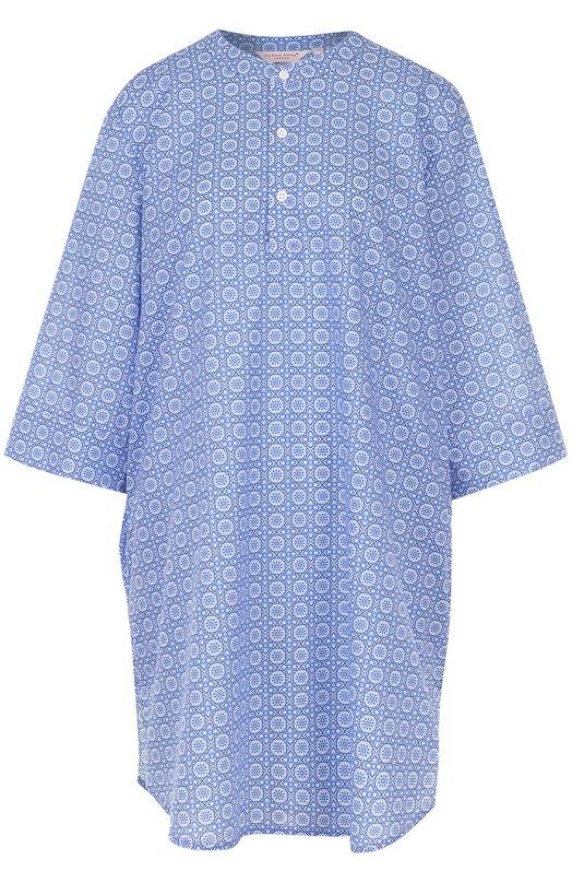 Хлопковая сорочка свободного кроя с принтом Derek Rose, 1275-LEDB005, Чехия, Голубой, Хлопок: 100%;  - купить