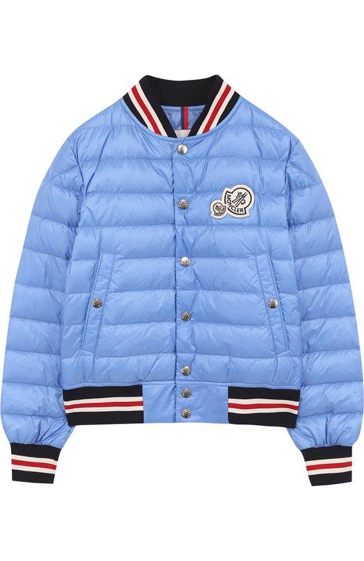 Купить Пуховая куртка-бомбер на кнопках с контрастной отделкой Moncler Enfant, D1-954-40316-99-53334/12-14A, Армения, Голубой, Пух: 90%; Полиамид: 100%; Подкладка-полиамид: 100%; Перо: 10%;
