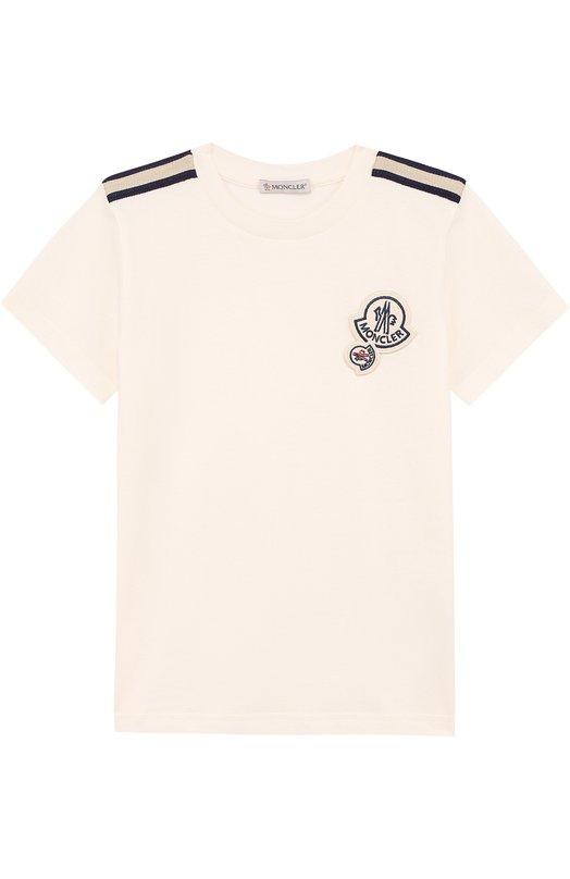 Купить Хлопковая футболка с декором Moncler Enfant, D1-954-80184-05-83907/12-14A, Португалия, Белый, Хлопок: 100%;