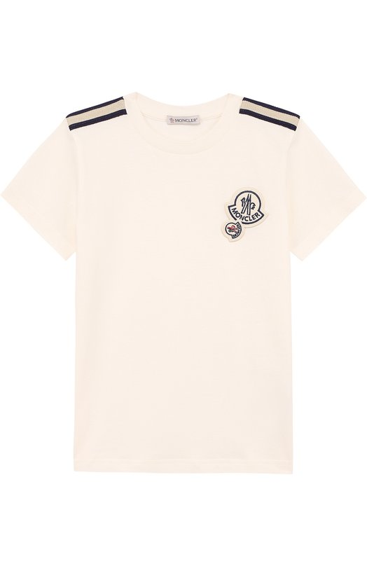 Купить Хлопковая футболка с декором Moncler Enfant, D1-954-80184-05-83907/4-6A, Португалия, Белый, Хлопок: 100%;