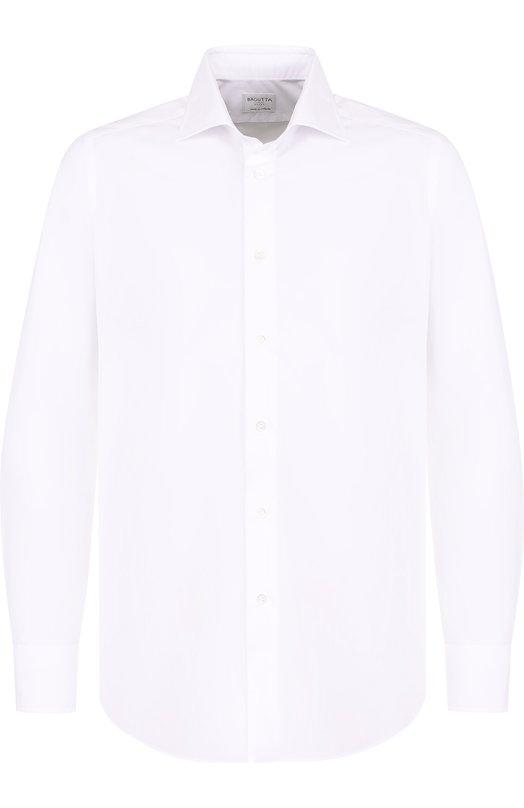 Купить Хлопковая сорочка с воротником акула Bagutta, B345L/02418, Италия, Белый, Хлопок: 100%;