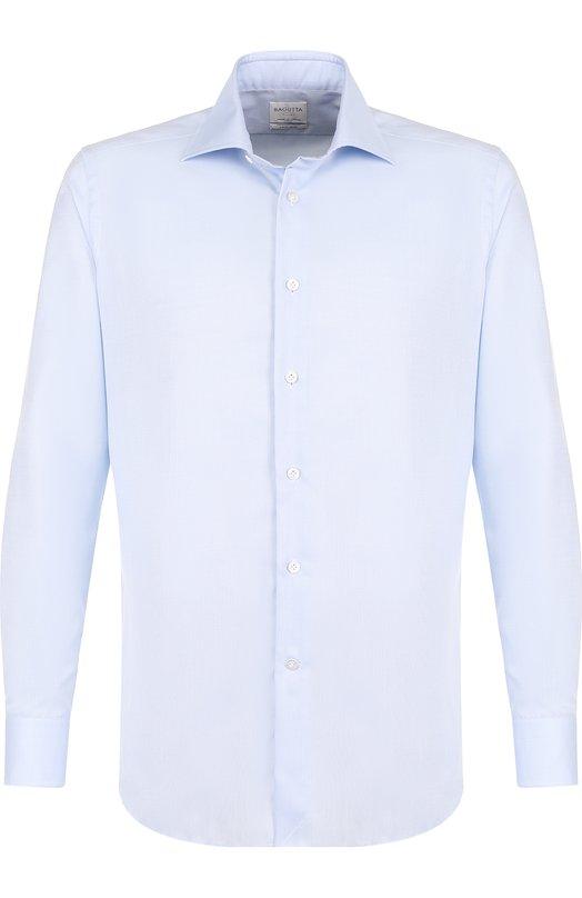 Купить Хлопковая сорочка с воротником акула Bagutta, B345L/02418, Италия, Голубой, Хлопок: 100%;