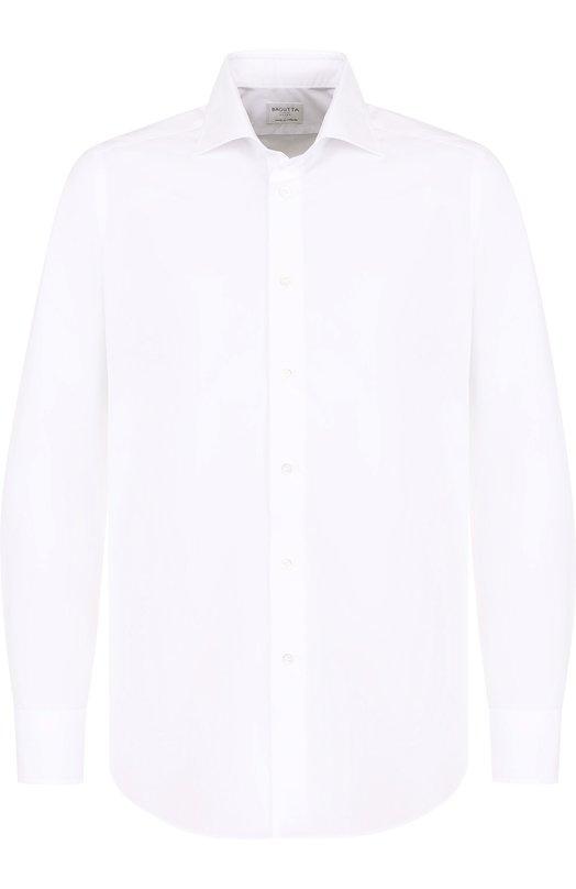 Купить Хлопковая сорочка с воротником акула Bagutta, B345SL/07156, Италия, Белый, Хлопок: 100%;