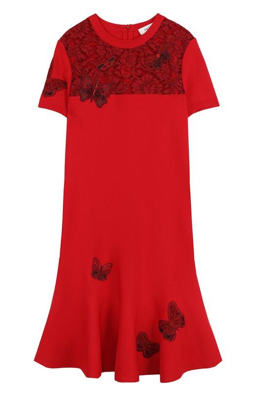 Купить Мини-платье с коротким рукавом и кружевной вставкой Valentino, PB3KD049/3RM, Италия, Красный, Вискоза: 83%; Отделка-хлопок: 41%; Отделка-вискоза: 39%; Отделка-полиамид: 20%; Полиэстер: 17%;