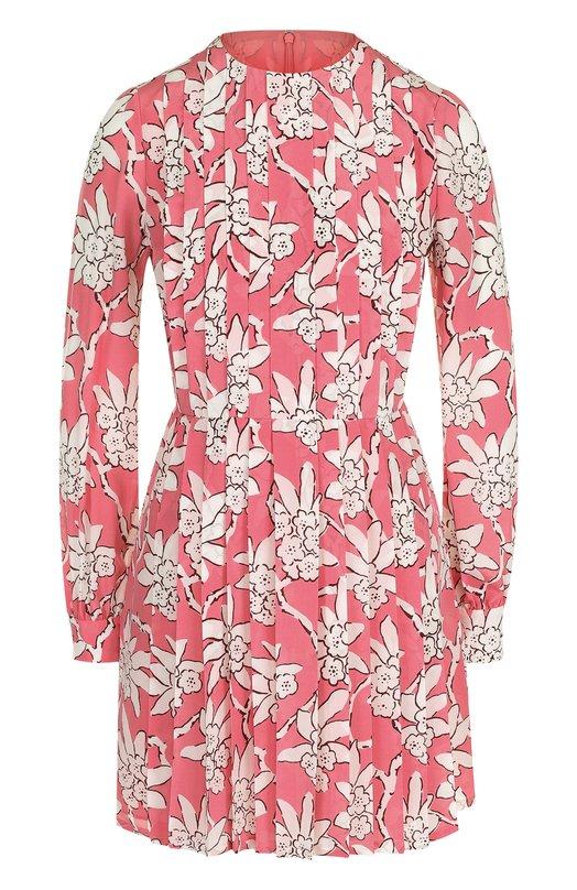 Купить Приталенное шелковое мини-платье с принтом Valentino, PB3VAGX0/3Q1, Италия, Розовый, Шелк: 100%; Подкладка-шелк: 100%;