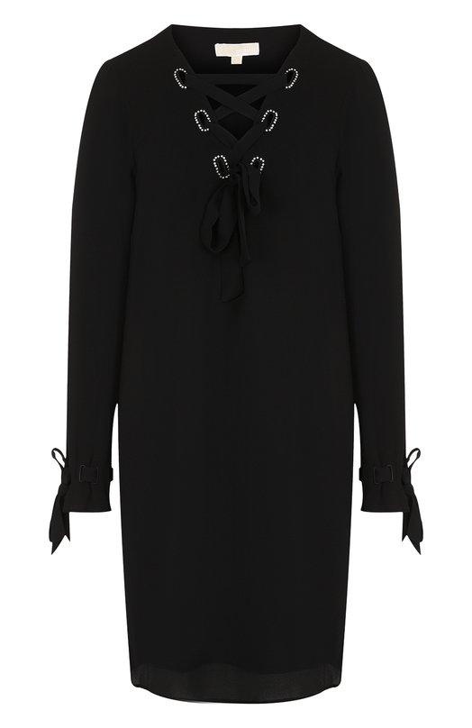 Купить Однотонное мини-платье со шнуровкой MICHAEL Michael Kors, MH78XHJ4YP, Китай, Черный, Полиэстер: 98%; Эластан: 2%; Подкладка-полиэстер: 100%;
