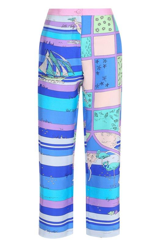 Купить Укороченные шелковые брюки с принтом Emilio Pucci, 81RT42/81746, Италия, Синий, Шелк: 100%;