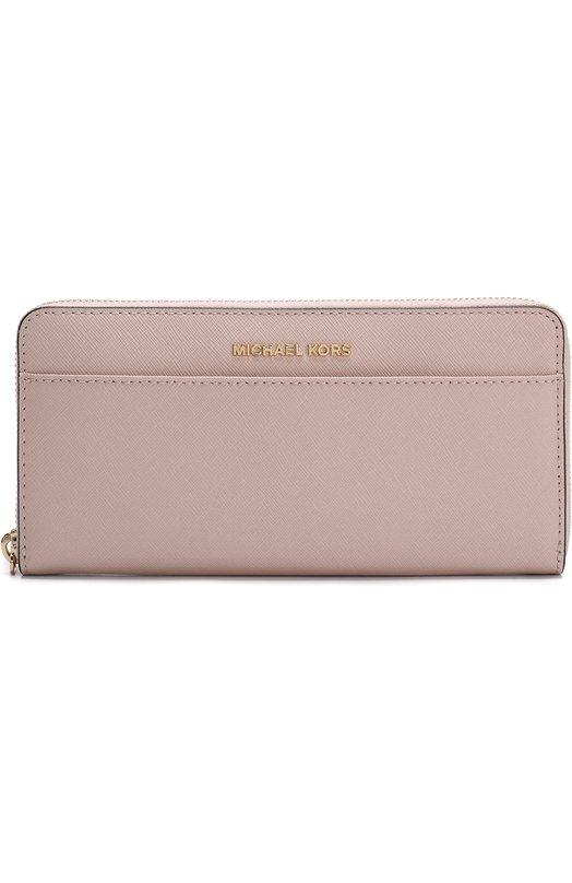 Купить Кожаный кошелек на молнии с логотипом бренда MICHAEL Michael Kors, 32T7GTVZ3L, Филиппины, Светло-розовый, Кожа натуральная: 100%;