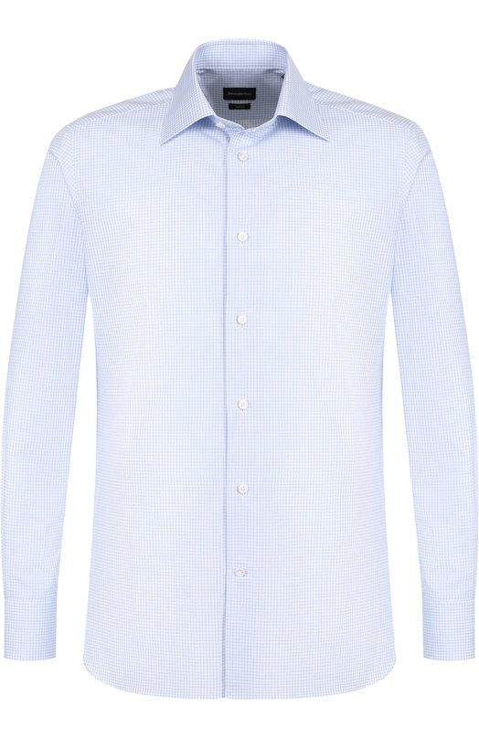 Купить Хлопковая сорочка с воротником кент Z Zegna, 301048/9MS0PA, Румыния, Голубой, Хлопок: 100%;