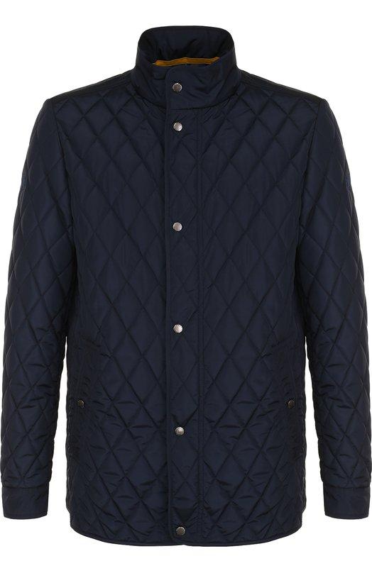 Купить Стеганая куртка на молнии с воротником-стойкой Paul&Shark, P18P2013, Италия, Темно-синий, Полиэстер: 100%;