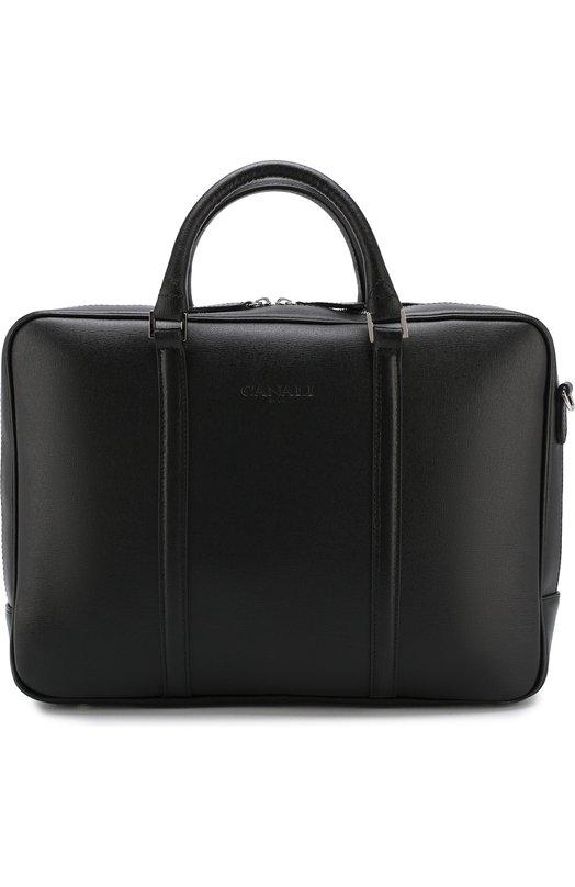 Купить Кожаная сумка для ноутбука с плечевым ремнем Canali, P325244/NA00053, Италия, Черный, Кожа натуральная: 100%;