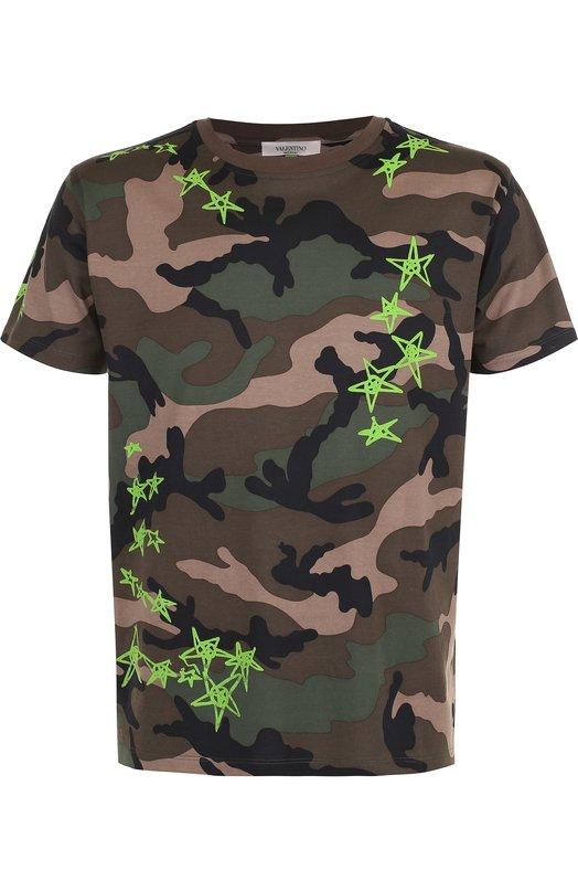 Купить Хлопковая футболка с камуфляжным принтом Valentino, PV3MG10M/3M0, Италия, Зеленый, Хлопок: 100%;