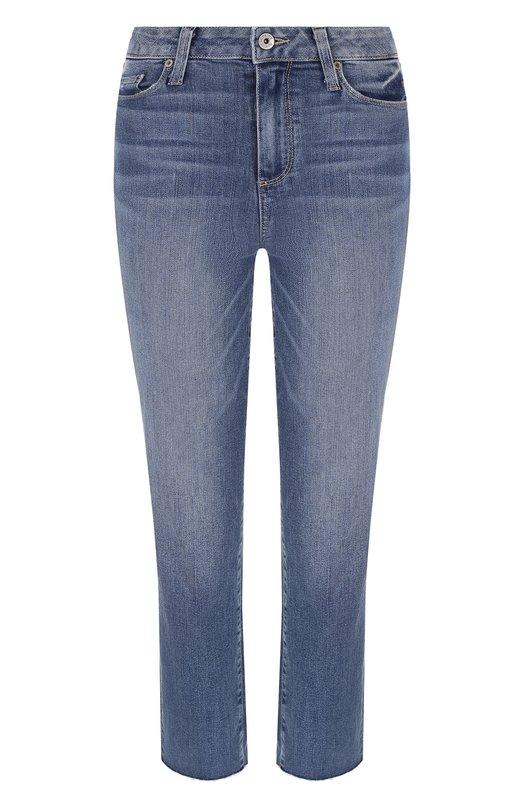 Купить Укороченные джинсы с потертостями Paige, 3182984-5823, США, Синий, Хлопок: 95%; Полиэстер: 4%; Эластан: 1%;