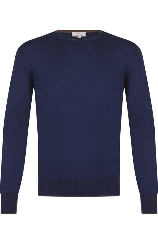 Купить Хлопковый джемпер тонкой вязки Canali, C0462/MK00504, Италия, Темно-синий, Хлопок: 100%;