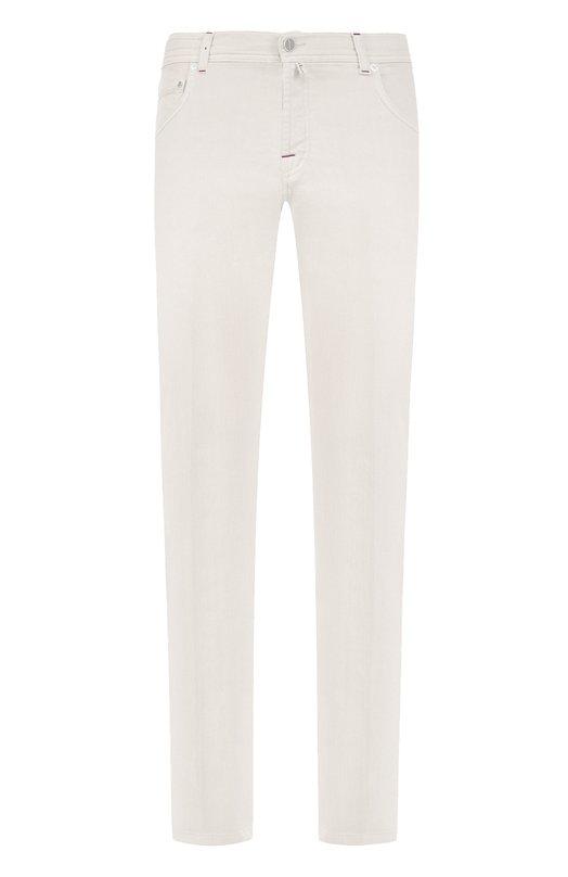 Купить Хлопковые брюки прямого кроя Kiton, UPNJSJ06P6918001, Италия, Белый, Хлопок: 98%; Эластан: 2%;