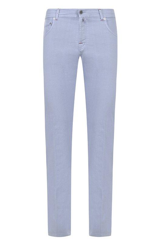 Купить Хлопковые брюки прямого кроя Kiton, UPNJSJ06P6920004, Италия, Голубой, Хлопок: 98%; Эластан: 2%;