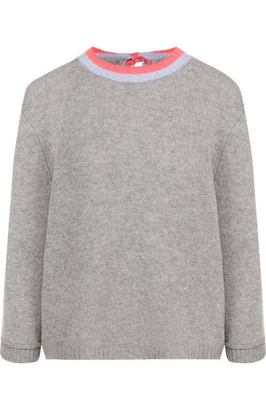 Купить Кашемировый пуловер с укороченным рукавом и круглым вырезом FTC, 700-0130, Китай, Серый, Кашемир: 100%;