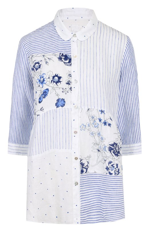 Купить Льняная блуза с укороченным рукавом 120% Lino, N3W1587/F180/000, Болгария, Голубой, Лен: 100%;