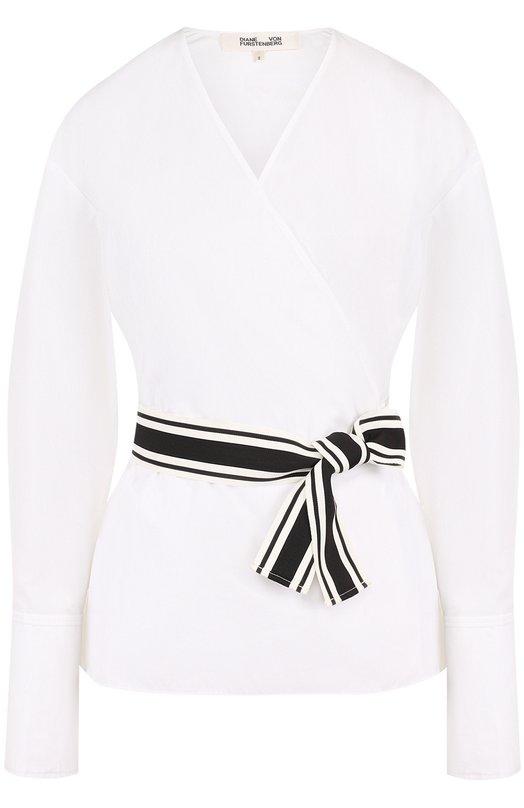 Купить Приталенная хлопковая блуза с контрастным поясом Diane Von Furstenberg, 11149DVF, Китай, Белый, Хлопок: 100%; Отделка-полиэстер: 100%;