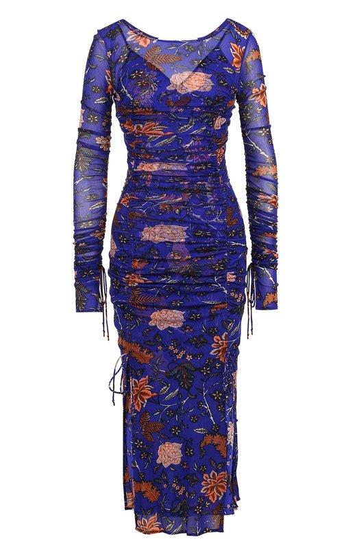 Купить Драпированное платье-миди с цветочным принтом Diane Von Furstenberg, 11158DVF, Китай, Разноцветный, Нейлон: 100%;