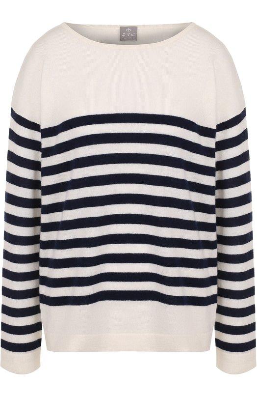 Купить Кашемировый пуловер в полоску с круглым вырезом FTC, 700-0000, Китай, Черно-белый, Кашемир: 100%;