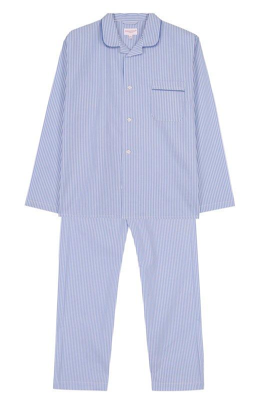 Купить Хлопковая пижама с принтом Derek Rose, 7005-JAME001/XXXL, Чехия, Голубой, Хлопок: 100%;