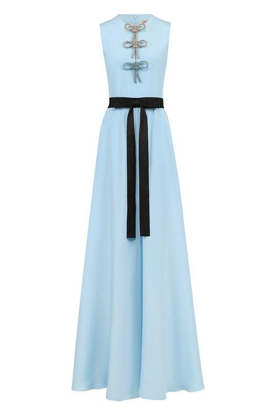 Купить Шелковое платье-макси с контрастным поясом Emilio Pucci, 81RL30/81657, Италия, Голубой, Шелк: 100%; Подкладка-шелк: 100%;
