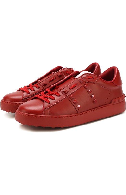 Купить Кожаные кеды Valentino Garavani Rockstud Untitled на шнуровке Valentino, PW2S0A01/MZD, Италия, Красный, Кожа натуральная: 100%; Стелька-кожа: 100%; Подошва-резина: 100%;