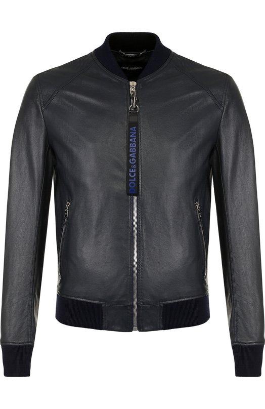 Купить Кожаный бомбер на молнии с карманами Dolce & Gabbana, G9JT4L/FUL89, Италия, Синий, Подкладка-шелк: 92%; Подкладка-кожа: 8%; Кожа натуральная: 100%;